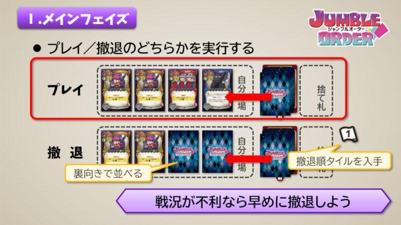 ジャンブルオーダー カードのプレイ